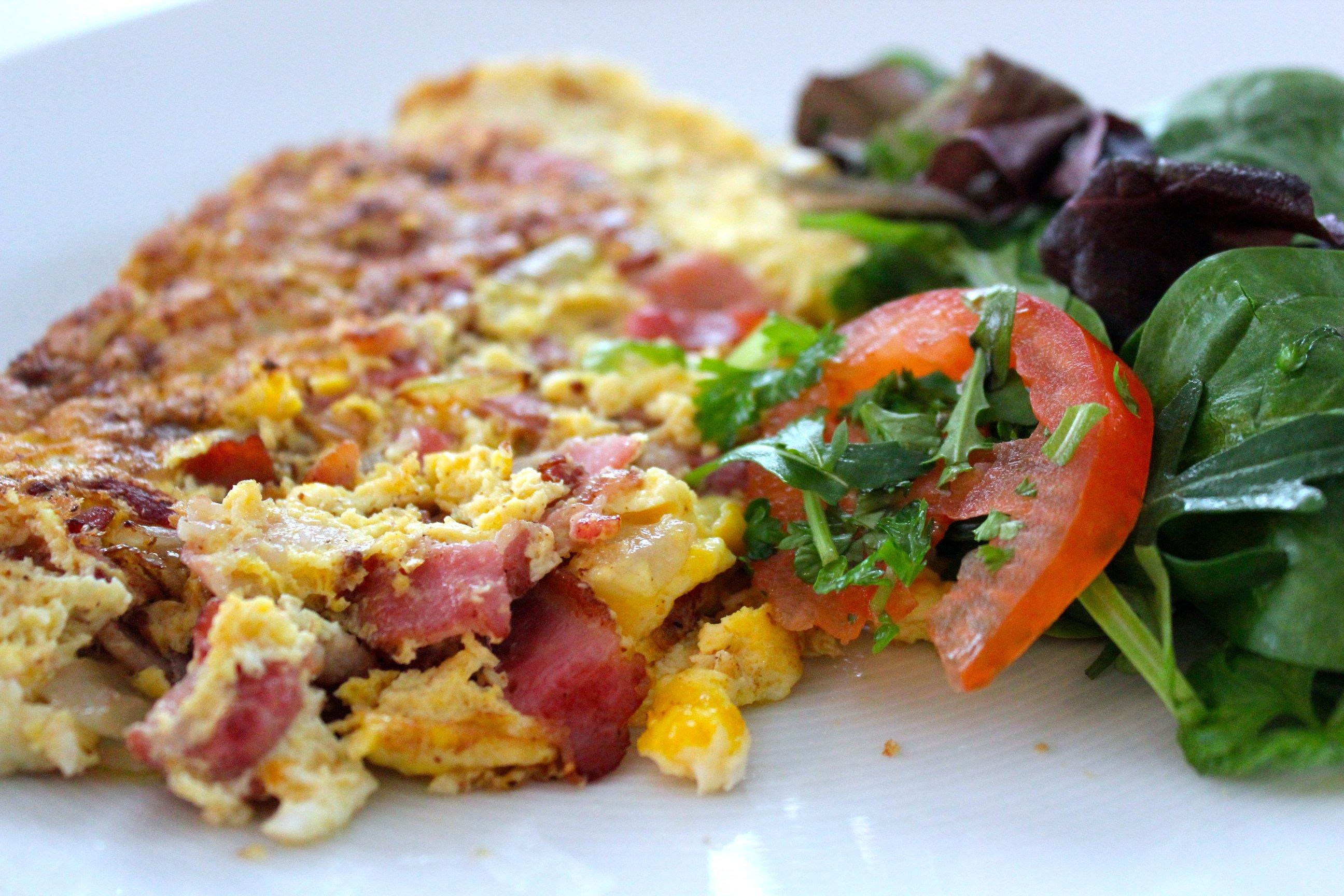 omelett recept bacon ost